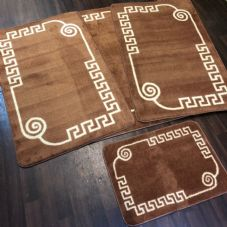 ROMANY WASHABLES GYPSY MATS 4PC SET SOFT GREEK DESIGN BROWN NON SLIP CARPETS NEW